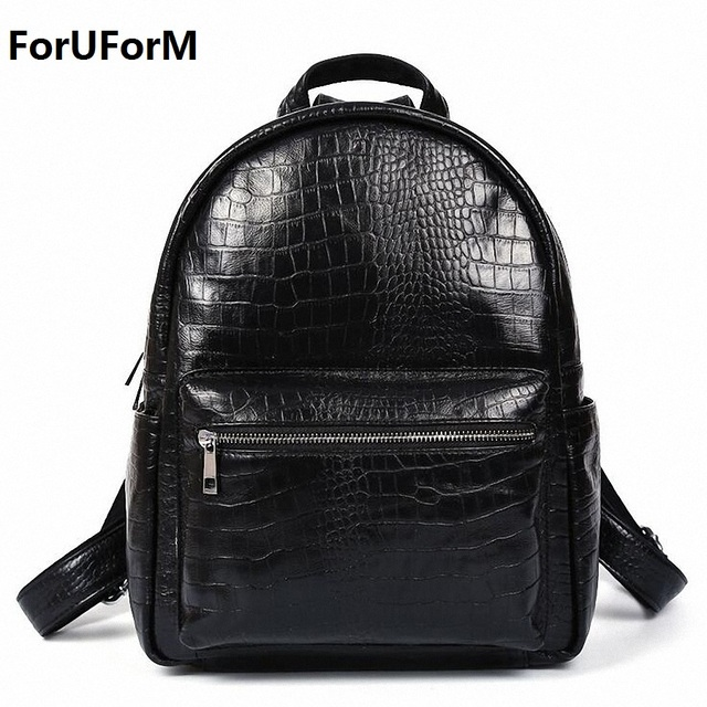 100% Genuine Leather Vintage Crocodile Backpack Men School Male ...