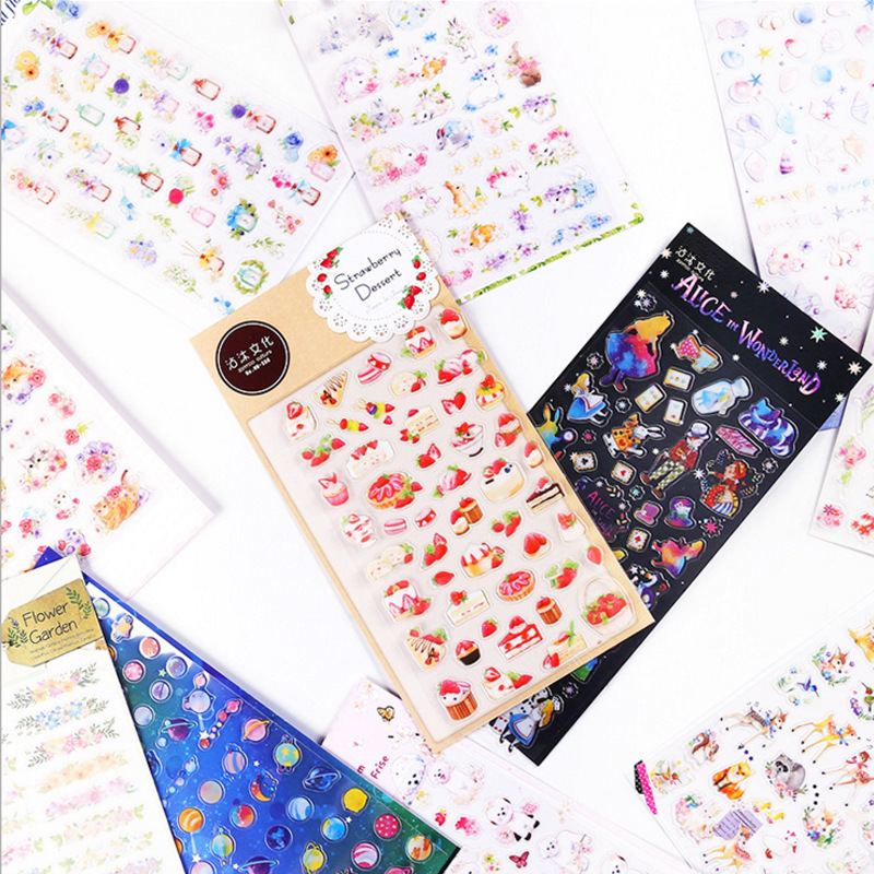 Creative food star cat flamingo Planet Alice Decorative Stationery Stickers Scrapbooking DIY Diary Album japanese Stick Lable japanese matchbox creative diy label stickers flower animal cat anime succulent food emoji doraemon stationery store post it bts