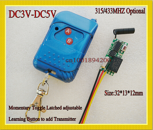 DC3-5V Wireless Switch Remote Control Receiver Transmitter Mini ON OFF Relay Switch 30*13*12mm Momentary Toggle Latched 315MHZ штатив benro t 800ex