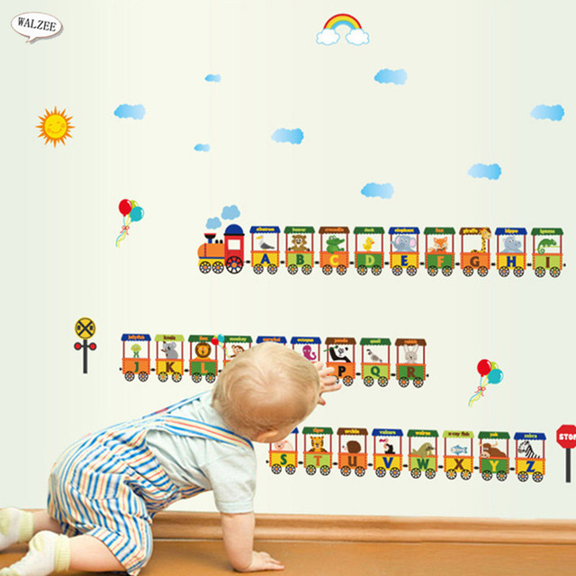 Mini Small Train Alphabet Cartoon Funny Letters Wall Sticker For Kids Baby Boy Girl Bedroom Nursery