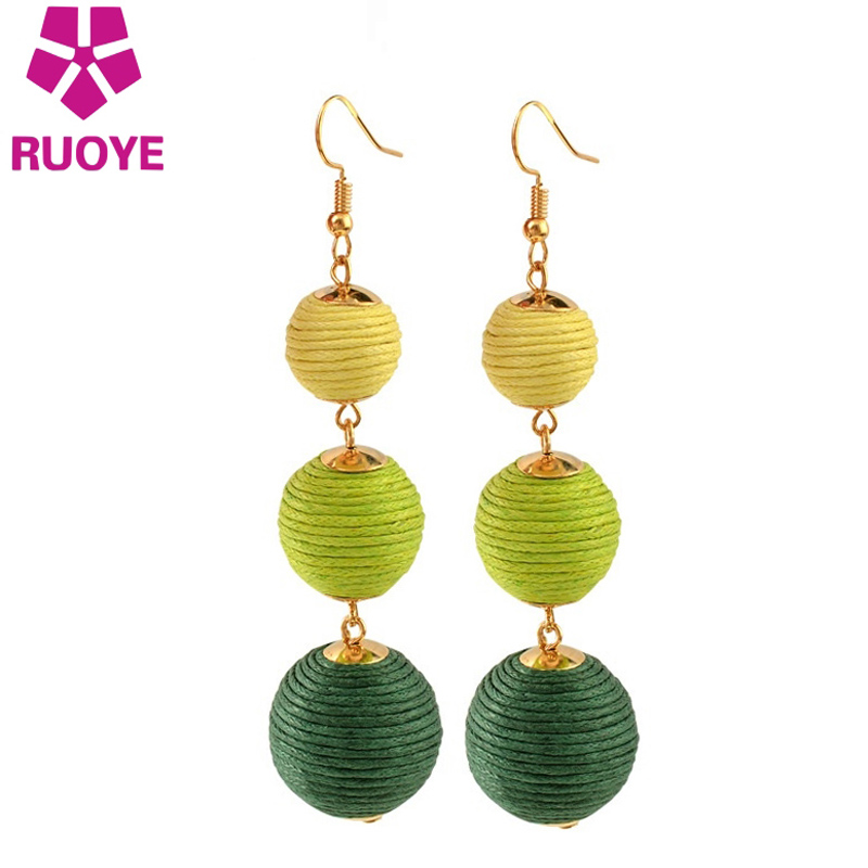 2017 Baru 6 warna Pom Pom Ball Drop Earrings Bohemian Plush Earrings For Fashion Wanita Pompom Hot Sale Alloy Jewelry
