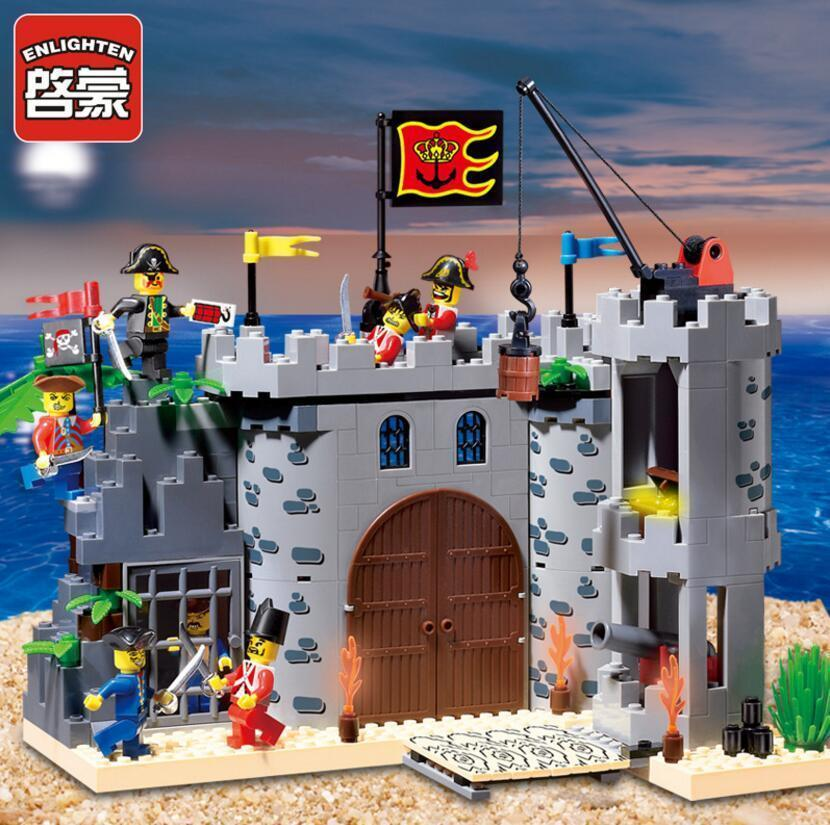 2017 Enlighten Pirates Of The Caribbean Barracks Castle Building Block sets Bricks Toys Gift For Children Compatible With