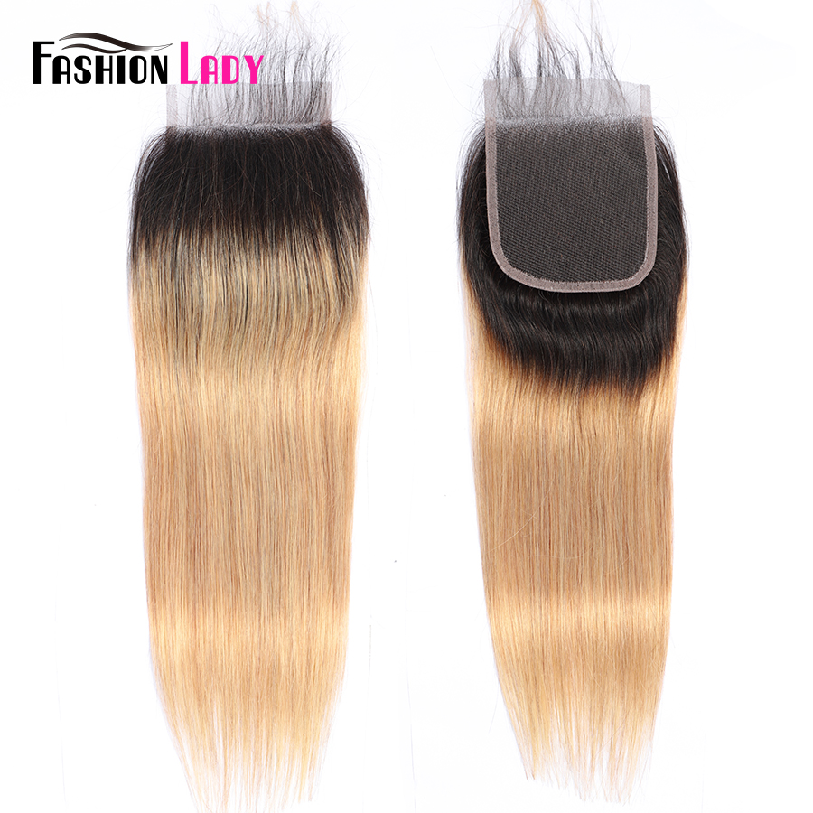 Fashion Lady Pre-Colored Peruvian Hair Ombre Closure 1b 27 100% Human Hair 4*4 Inches Straight Hair Closure Free Part Non-remy