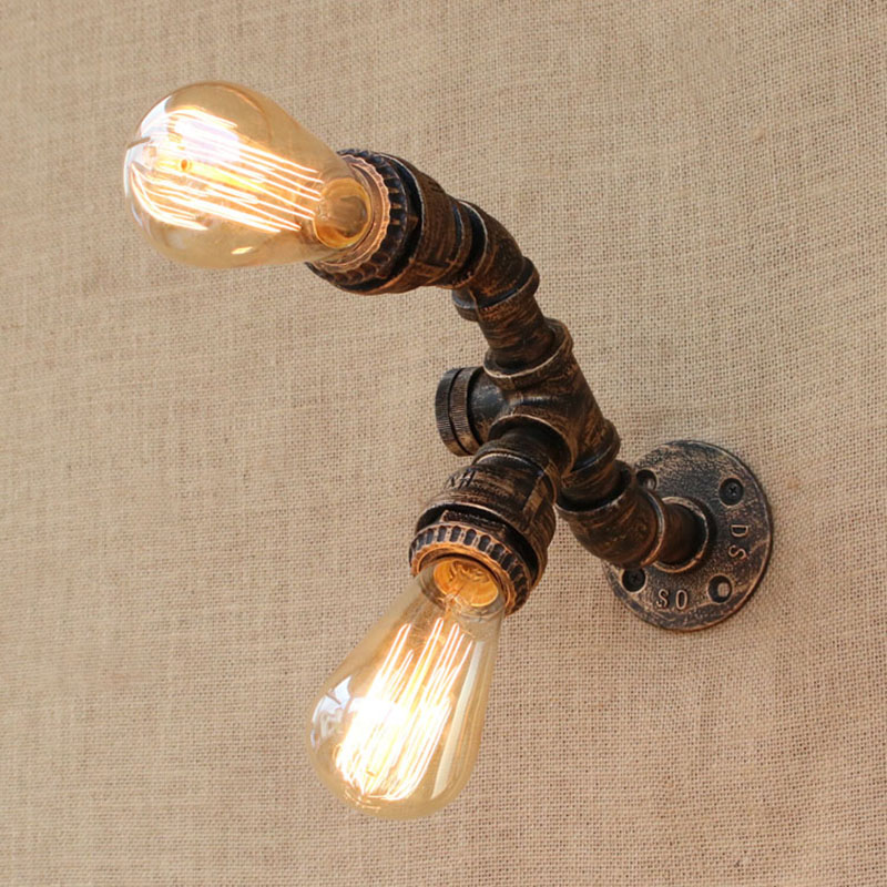 Loft European Retro Steampunk Pipe Wall Lights with switch 2 lights E27 LED wall lamp for bedroom kitchen living room bar steampunk loft 4 color iron water pipe retro wall lamp vintage e27 e26 sconce lights for living room bedroom restaurant bar