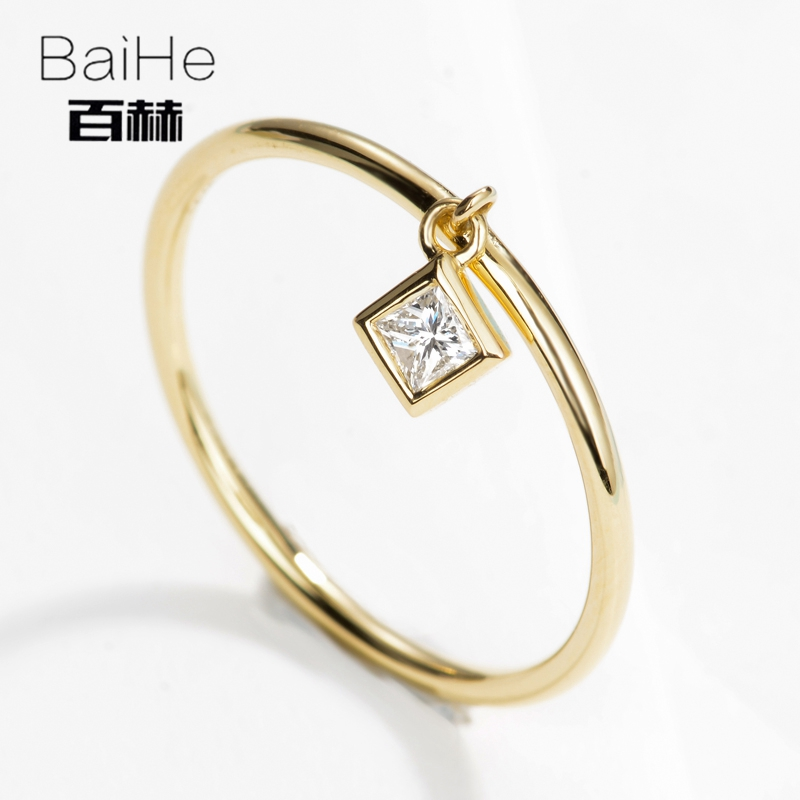BAIHE Solid 14K Yellow Gold 0.07CT Certified H/SI 100% Genuine Natural Diamonds Engagement Women Trendy Fine Jewelry gift Ring