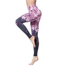 Women Active Pink 3D Digital Floral Printed Yoga Leggings High Waist Fitness Sport Capri Pants Gym Workout Jogging Tights