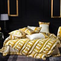 FAMVOTAR 4 шт. Роскошные постельное белье Chic Золотой полосой/ячеек вышивка набор пододеяльников для пуховых одеял покрывало, Комплект постельно