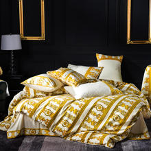 FAMVOTAR 4 Pcs Luxury Bedding Set Chic Golden Stripe/Cells Embroidery Duvet Cover Bed Fitted Sheet King Queen Size
