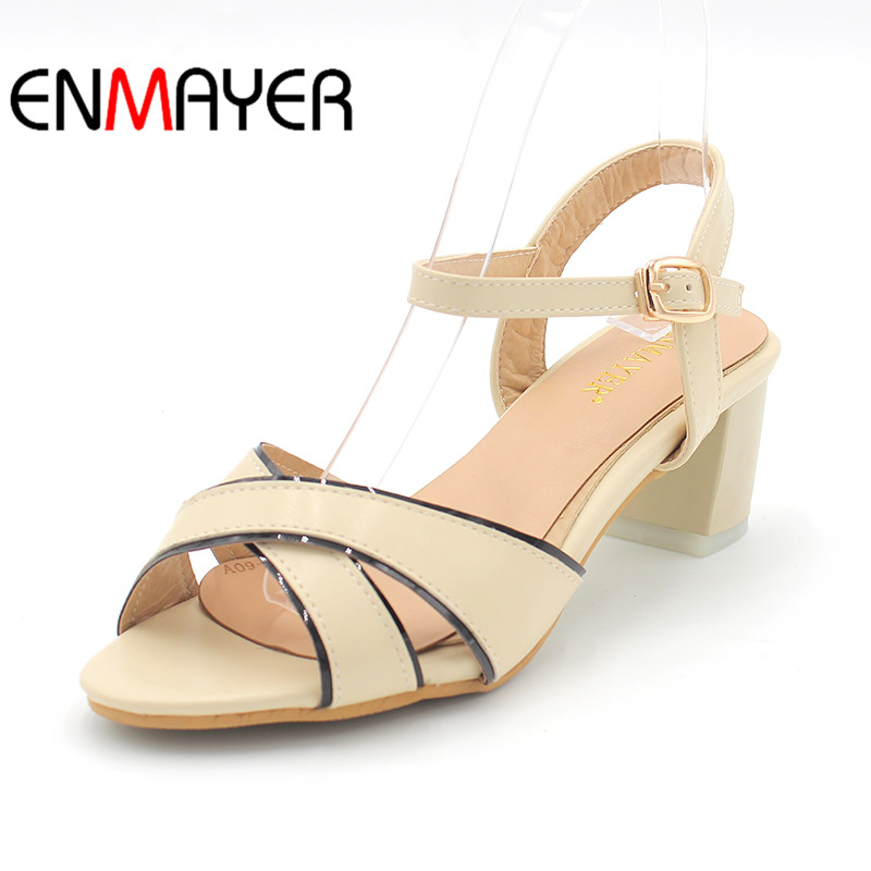 ENMAYER New Women Square Heel Buckle PU Leather Fashion High-heeled 4 Colors Pink Shoes Casual Woman Sandals Large Size 34-45 xiaying smile summer new woman sandals platform women pumps buckle strap high square heel fashion casual flock lady women shoes