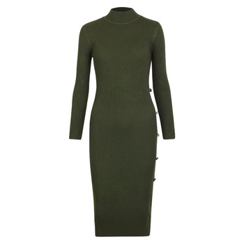 Knitted Long Sleeve Neck Sweater Dresses9