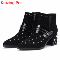 2018 Superstar Sheep Suede Rivets Pointed Toe Zipper Metal Buckle Slip on Fashion Black High Heels Warm Women Ankle Boots L08