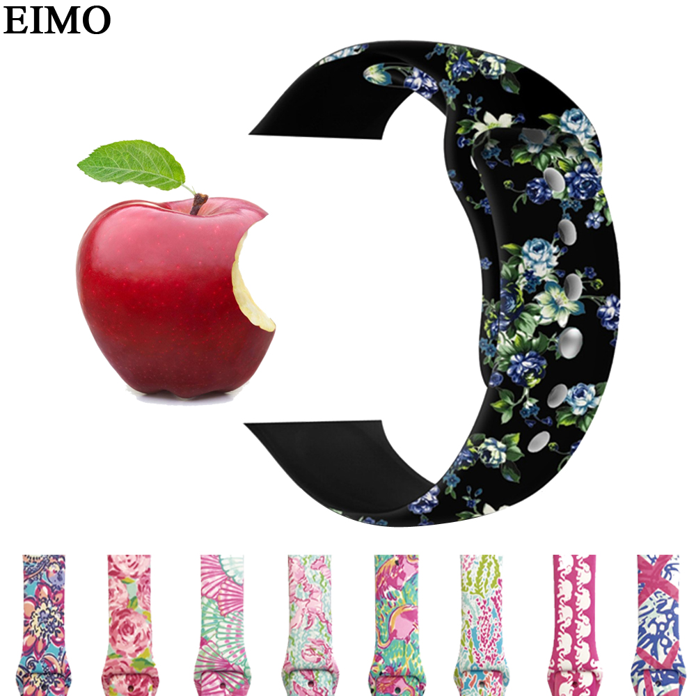 EIMO Sport Silicone Strap For Apple Watch band 42mm 38mm correa iwatch Series 3/2/1 rubber Wrist bands bracelet belt Watchband