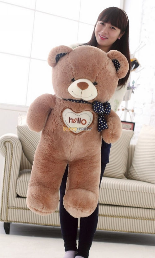Fancytrader 2014 New Arrival Bear Toy 43'' / 110 cm Giant Hugging Hearting Plush Stuffed Bear Free Shipping 2 Colors FT90097 fancytrader new style teddt bear toy 51 130cm big giant stuffed plush cute teddy bear valentine s day gift 4 colors ft90548