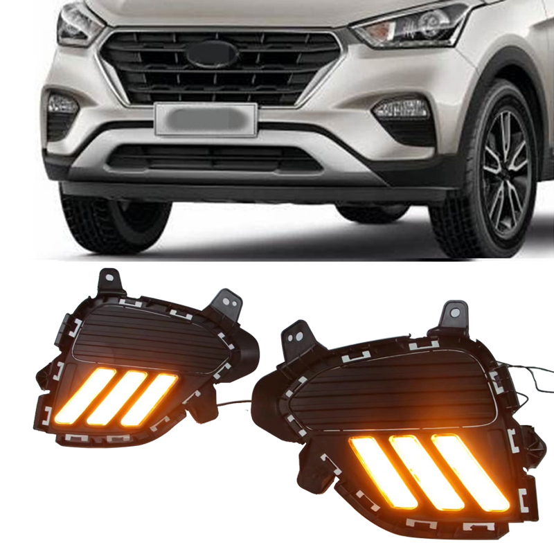 Fashionable Style Led Drl daylights daytime running light With Yellow turning signal Fog Lamp Fit For IX25 2017 2018 creta eosuns led drl daylights daytime running light with yellow turn signal fog lamp for ford mondeo 2010 12 wire module controller