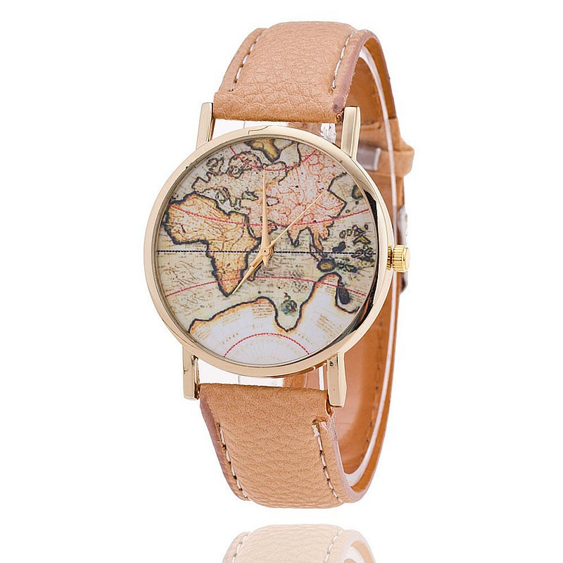 Hot Sale New Fashion World Map Women Watch PU Leather Casual Wrist Watch Lady Dress Watch Rhinestone bracelet bangle
