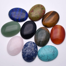 Fashion 12pcs natural stone beads for Jewelry making oval cabochon 30x40MM no hloe charm  mixed ring accessories Free shipping