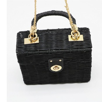 New Rattan Black Straw Shoulder Bag Women Hand-Woven Messenger Bag Summer Beach Square Chain Box Straw Handbag Drop Shipping 1