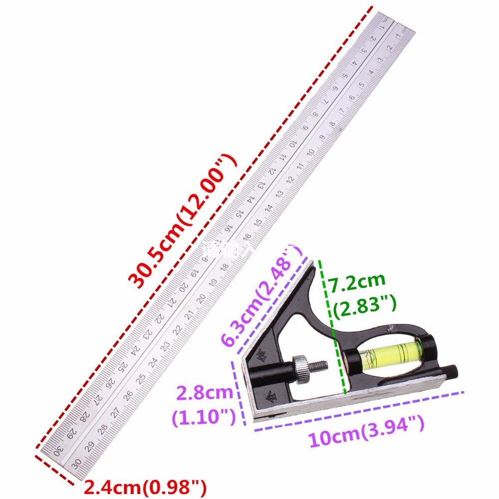 Adjustable stainless steel 300mm 12inch engineers combination try adjustable stainless steel 300mm 12inch engineers combination try square set angle spirit level in laser levels from tools on aliexpress alibaba group pooptronica