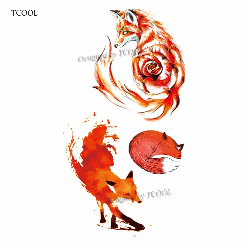 HXMAN Fox Women Temporary Tattoo Sticker Tattoos For Waterproof Men Animal Body Art Kids Girls Hand Fake Tatoo 10.5X6cm A-207