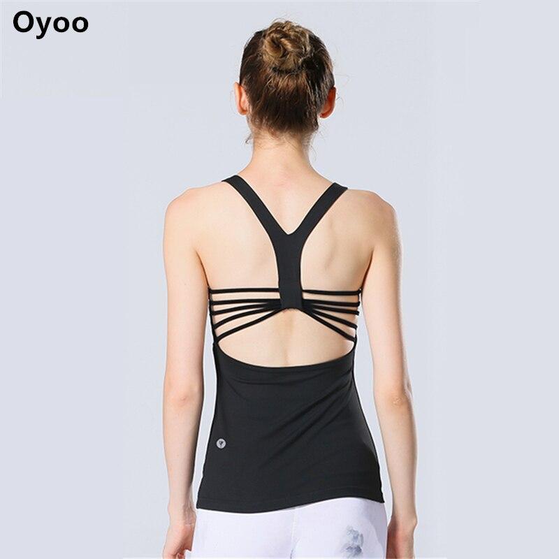 Oyoo Bind Cinghie di Yoga Tops Allenamenti Fitness Vestiti Activewear Costruito in Reggiseno Cowl Indietro Senza Maniche Sport Canotte per Le Donne