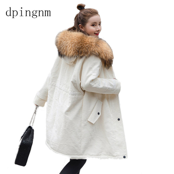 Corduroy cotton women's long section 2018 winter new Korean version of the loose hooded cotton jacket large fur collar coat