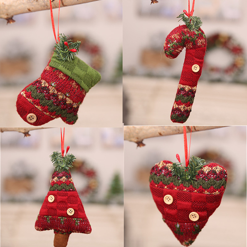 1pc lovely red handmade christmas ornament crutch glove heart christmas tree pendant new year christmas decorations for home in pendant drop ornaments