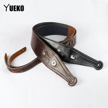 YUEKO Genuine Cow Leather Cowhide Soft Durable Guitar Strap Acoustic Electric Bass Adjustable Belt