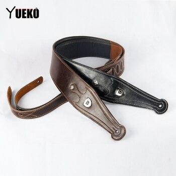 цена на YUEKO Genuine Cow Leather Cowhide Soft Durable Guitar Strap Acoustic Electric Guitar Strap Bass Strap Adjustable Guitar Belt