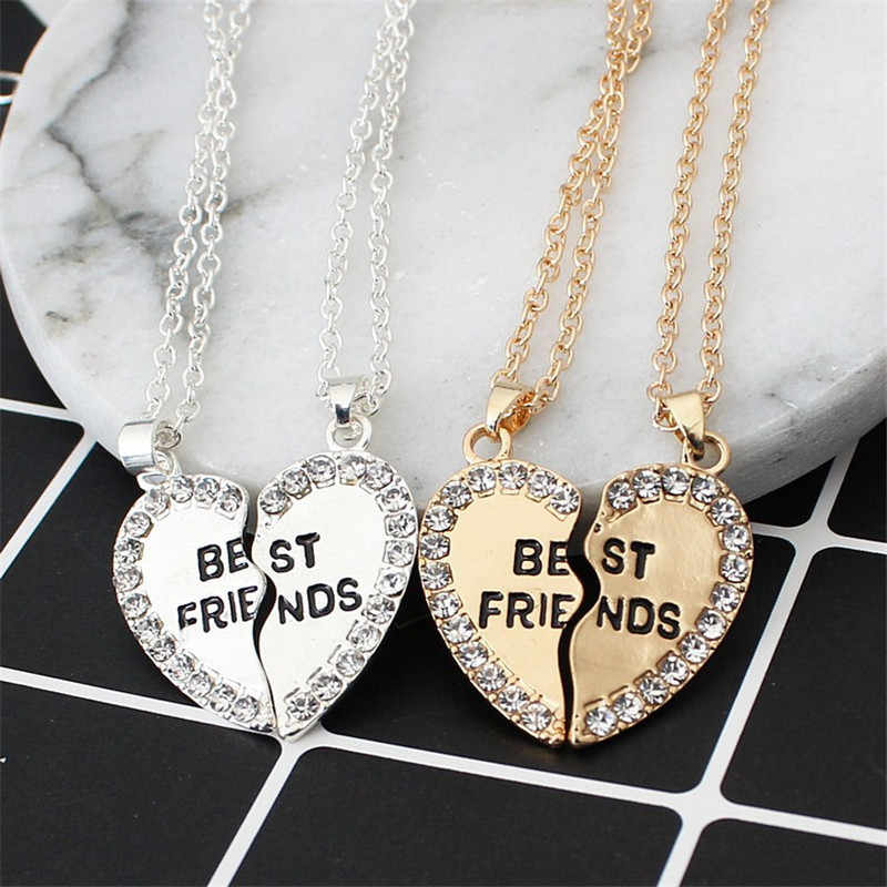 1 Pair Half Love Heart Rhinestone Pendant Best Friends Couple Necklace Friendship Gift for Couple Collar Kolye Collares