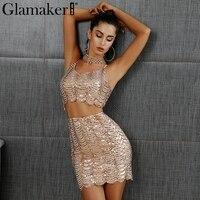 Glamaker Sexy lantejoulas two-piece suit Mulheres de vestido curto brilhante v neck clube casual vestidos de festa vestido de alça Ajustável