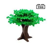 Árvore da cidade blocos de construção folha tronco rua vista pátio grandes árvores espessas compatível moc tijolo construção brinquedos para crianças