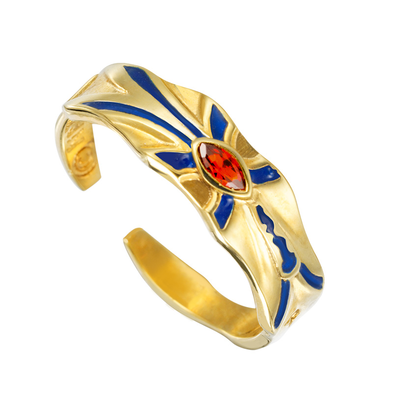 Anime Fate Zero Extra CCC Gilgamesh Gold Ring Cosplay Props S925 Sterling Silver Ring Jewelry Daily Cos Gift Adjustable