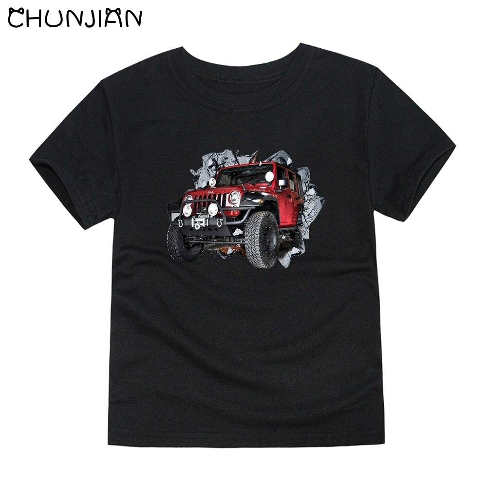 CHUNJIAN cars T-shirts for boys kids SUV tees T-shirt for girls children short sleeve tops baby 100% cotton T shirt for 2-14T