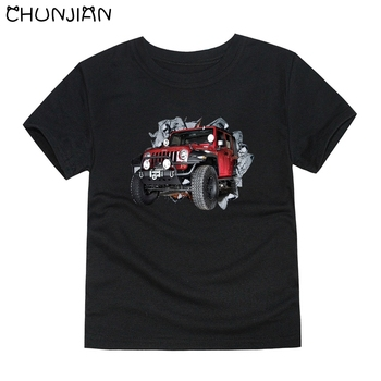 CHUNJIAN cars T-shirts for boys kids SUV tees T-shirt for girls children short sleeve tops baby 100% cotton T shirt for 2-14T