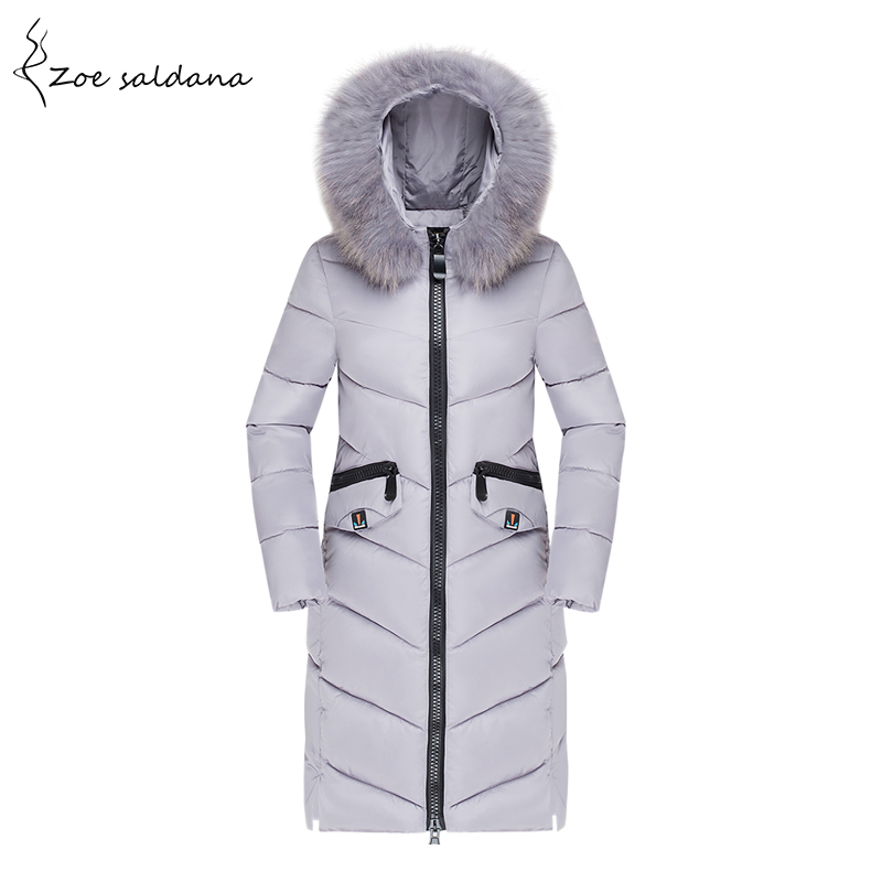 Zoe Saldana 2017 Winter Jacket Women Fur Collar Hooded Cotton Padded Long Coat Women Parka Pockets Thicken Warm Jacket Female zoe saldana 2017 winter women coat long cotton jacket fur collar hooded letter print outerwear femme casual parka