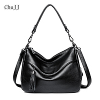Chu JJ delle Donne del Cuoio Genuino Borse In Pelle di Mucca Nappa Spalla CrossBody Bag Messenger Bag Big Size Hobos Borse da Donna signore