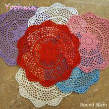 Crochet Tablecloth Dining Kitchen Lace Wedding-Decor Round Christmas-Party White Cotton