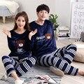 Nuevos pijamas de las mujeres de espesamiento del invierno de franela de manga larga ropa de dormir lindo pijamas para los amantes parejas chándal informal para hombres