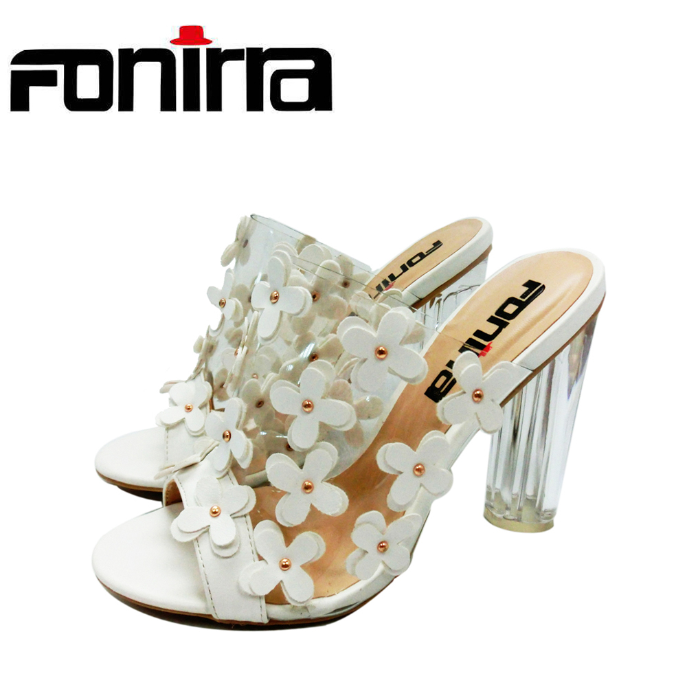 FONIRRA Women High Heels Slides Clear Heels Transparent Women Slipper Shoes with Floral Appliques Fashion Women Slides Shoes 560 high quantity medicine detection type blood and marrow test slides
