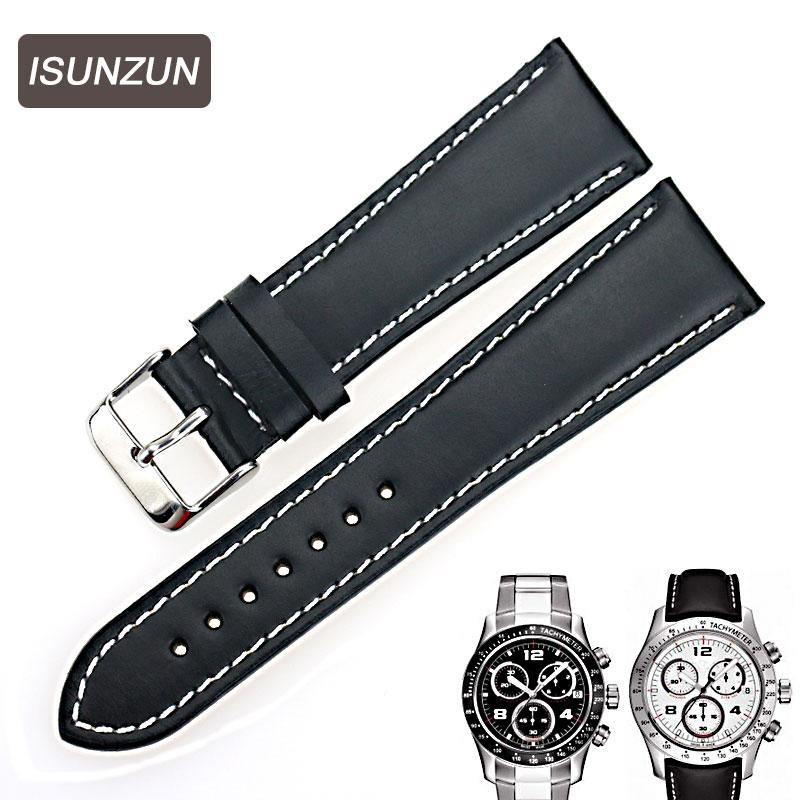 ISUNZUN montre pour hommes bandes pour Tissot 1853 T039 V8 bracelets de montre 22mm homme d'affaires Bracelet en cuir de vache bracelets saati zegarki