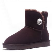 ZUZI Australia Classic Style Ugs Women Snow Boots High Quality Genuine Leather Ankle Crystal Button Winter
