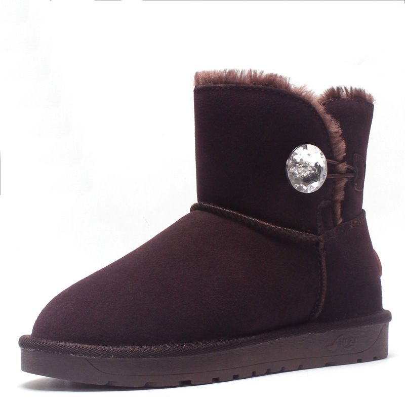 ZUZI Australia Classic Style Ugs Women Snow Boots High Quality Genuine Leather Ankle Crystal Button Winter Boots EU35-44