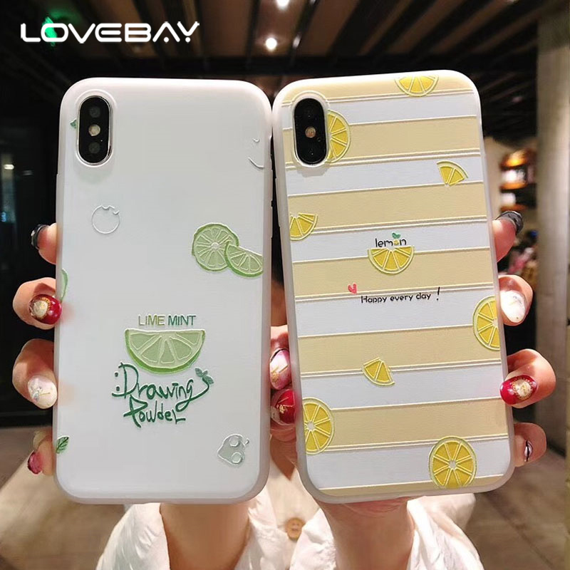 Lovebay Relief Case For iPhone 6 6s 7 8 Plus X Fashion Cute Cartoon Summer Fruit Lemon Painted Soft TPU For iPhone 8 Phone Case