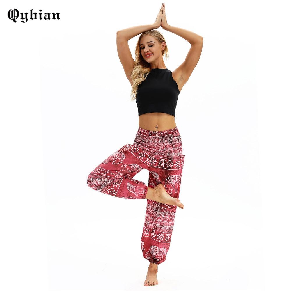 Qybian Women Harem Pants High Waist Boho Pant Pantalon Mujer Loose Bohemian Waist Retro Elephant Pant With Pocket