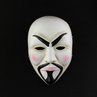 New Fantastic Chinese Moustache Man Grimace Mask Movie Theme Mask Funny Masked Ball False Face High end Resin White Face Mask