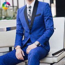 Royal Blue Pattern Floral Men Suits Wedding for Man Blazer Jacket 3Piece Pants Vest Groomsmen Suit Groom Tuxedo Ternos
