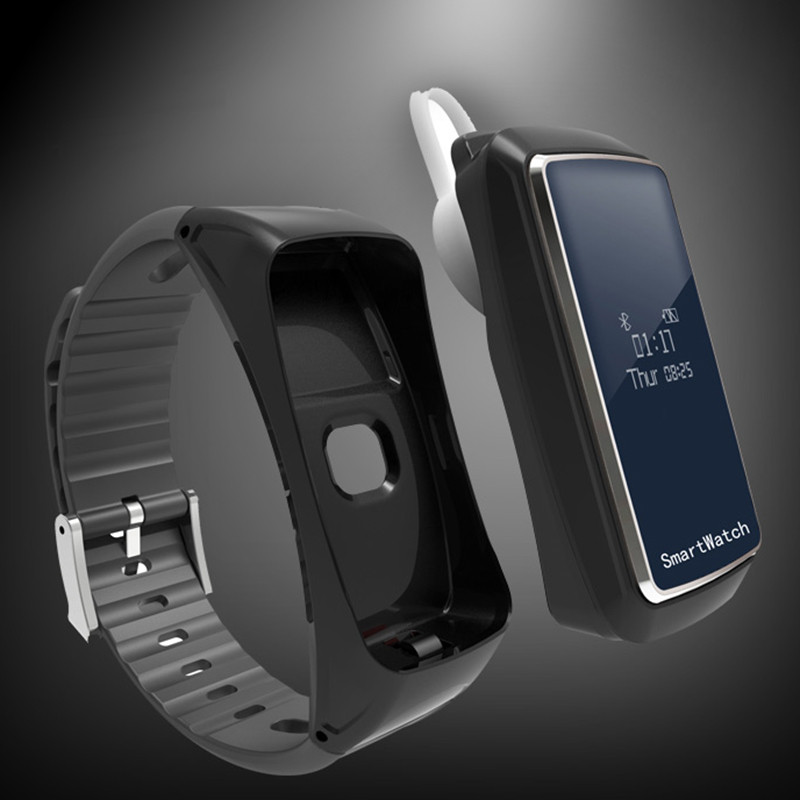 New Bluetooth Smart Wristband Sports Bracelet Watch Step-counting Pedometer Health Monitor with Bluetooth Earphone function