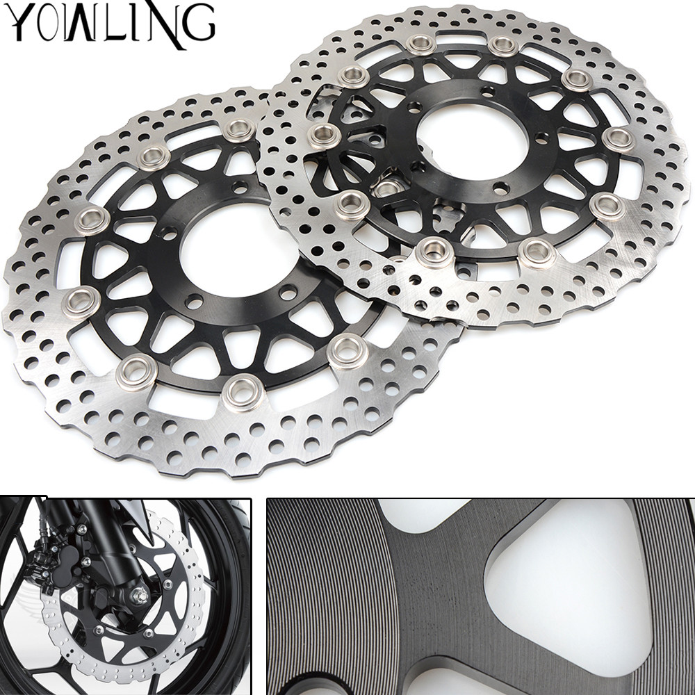 CNC Front Brake Disc Brake Rotors For KAWASAKI NINJA ZZR1400 ZX14R ABS ZX-14R 1400CC 2008 2009 2010 2011 2012 2013 2014 8 colors universal for kawasaki ninja 250 2008 2009 2010 2011 2012 motocross clutch brake master cylinder reservoir levers cnc