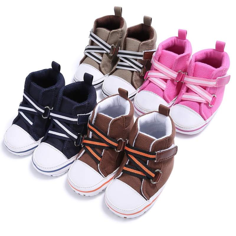 WEIXINBUY Baby Fashion Sneakers Cute Soft Indoor Baby Toddler Shoes Baby Boys And Girls Cross-tied Baby Shoes