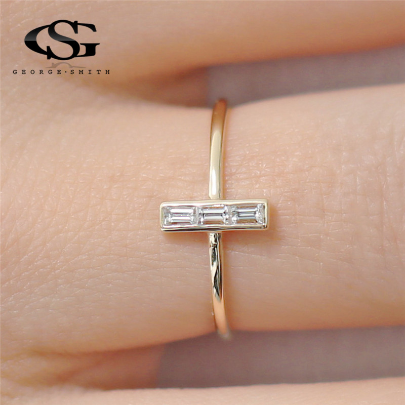 GS Stainless Steel Rings For Women Geometric Austrian Crystal Zircon Cross Wedding Gold Thin Men Ring Couple Jewelry R15